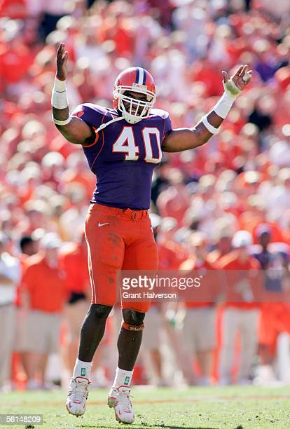 Anthony Waters of the Clemson Tigers fires up the fans during an Atlantic Coast Conference game against the Florida State Seminoles on November 12...