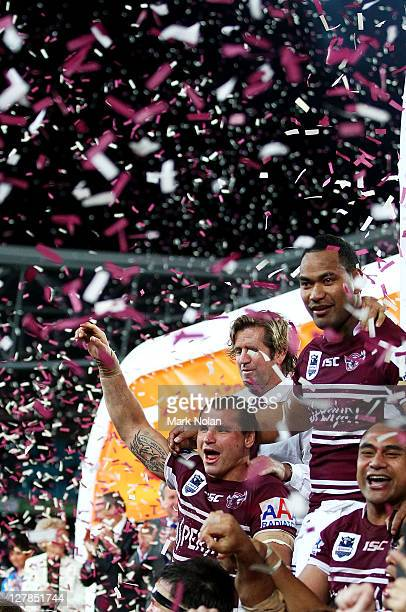 Anthony Watmough of the Eagles celebrates after winning the 2011 NRL Grand Final match between the Manly Warringah Sea Eagles and the Warriors at ANZ...