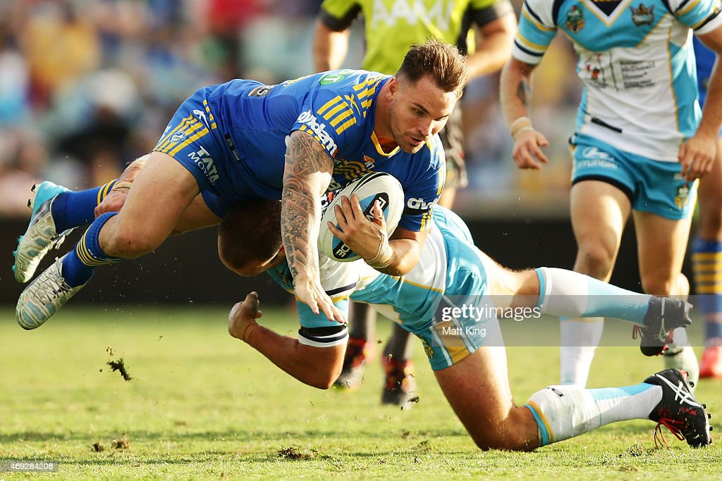 Anthony Watmough of the Eels is tackled during the round six NRL match between the Parramatta Eels and the Gold Coast Titans at Pirtek Stadium on April 11, 2015 in Sydney, Australia.
