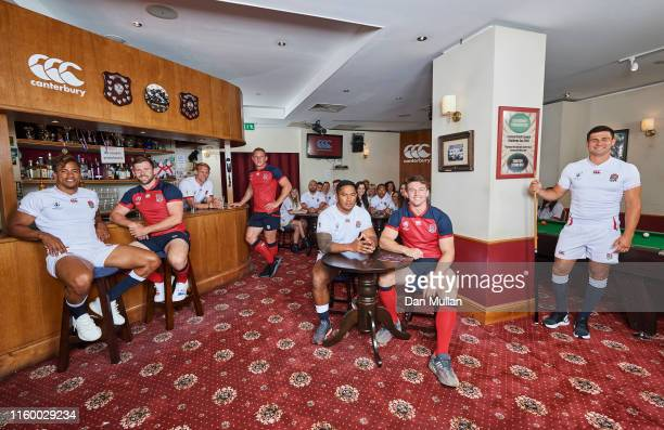 Anthony Watson Elliot Daly Sam Underhill Manu Tuilagi Tom Curry and Ben Youngs of England at the launch of the England Rugby World Cup 2019 kit with...