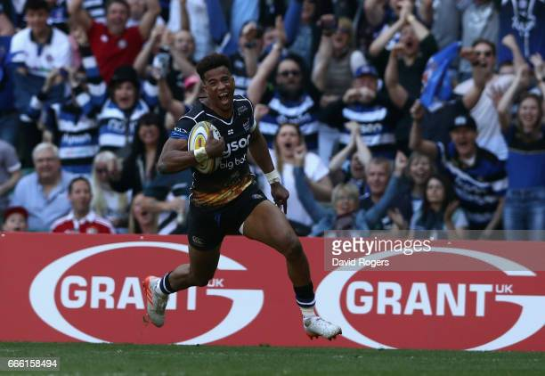 Anthony Watson of Bath breaks clear to score his second try of the match during the Aviva Premiership match between Bath and Leicester Tigers at...