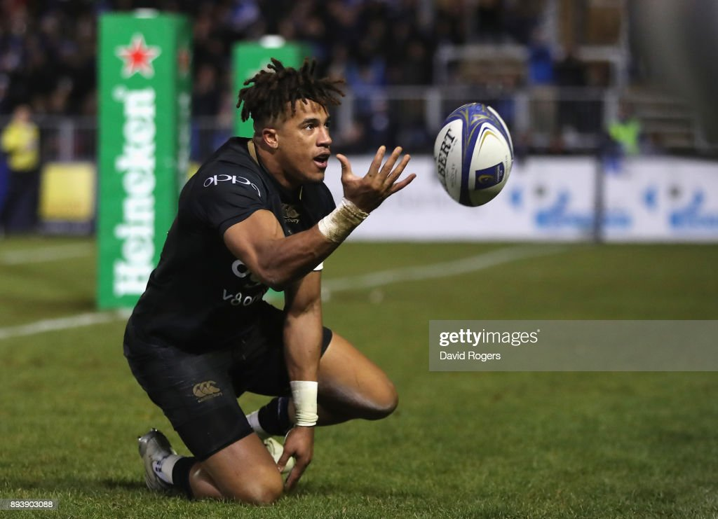 Anthony Watson of Bath celebrates after scoring his first try during the European Rugby Champions Cup match between Bath Rugby and RC Toulon at the Recreation Ground on December 16, 2017 in Bath, England.
