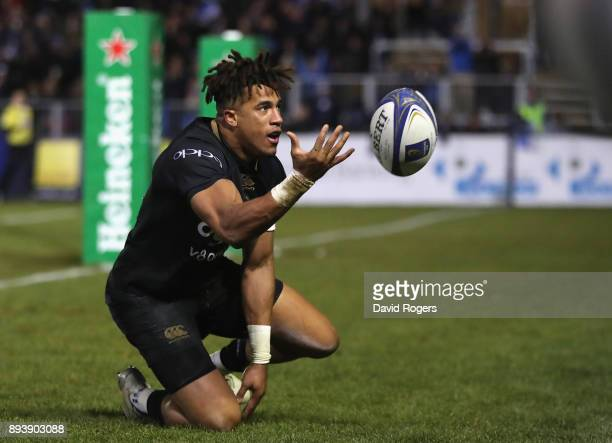 Anthony Watson of Bath celebrates after scoring his first try during the European Rugby Champions Cup match between Bath Rugby and RC Toulon at the...