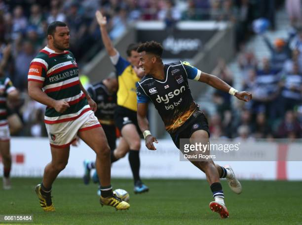 Anthony Watson of Bath celebrates after scoring his second try of the match during the Aviva Premiership match between Bath and Leicester Tigers at...