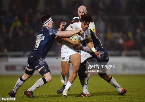 Anthony Watson of Bath in action during the Aviva Premiership match between Sale Sharks and Bath Rugby at AJ Bell Stadium on December 23 2017 in...