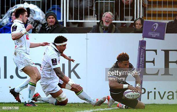 Anthony Watson of Bath Rugby goes over for his sides third try during the European Rugby Challenge Cup match between Bath Rugby and Pau at the...