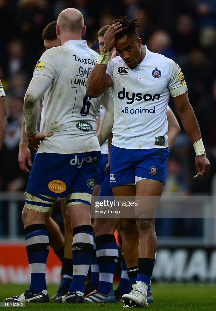 Anthony Watson of Bath Rugby(R) reacts during the Aviva Premiership match between Exeter Chiefs and Bath Rugby at Sandy Park on December 2, 2017 in Exeter, England.