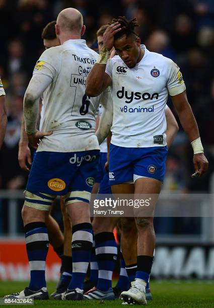 Anthony Watson of Bath Rugby reacts during the Aviva Premiership match between Exeter Chiefs and Bath Rugby at Sandy Park on December 2 2017 in...