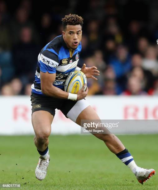 Anthony Watson of Bath runs with the ball during the Aviva Premiership match between Bath and Wasps at the Recreation Ground on March 4 2017 in Bath...