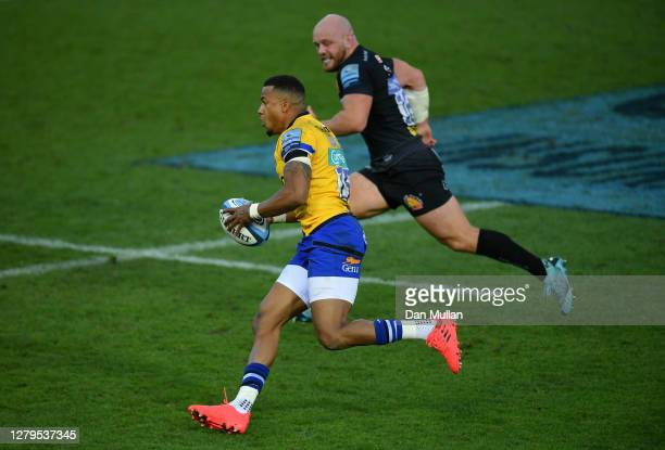 Anthony Watson of Bath takes on Jack Yeandle of Exeter Chiefs during the Gallagher Premiership Rugby semifinal match between Exeter Chiefs and Bath...