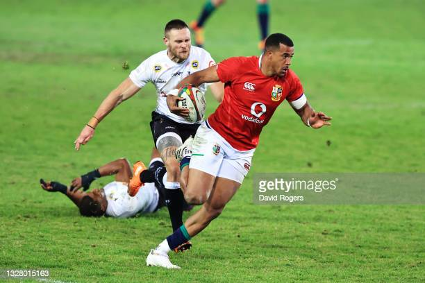 Anthony Watson of British & Irish Lions breaks away to score their side's eleventh try during the tour match between Cell C Sharks and the British &...
