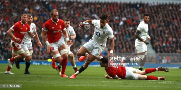 Anthony Watson of England breaks clear to score the first try during the 2020 Guinness Six Nations match between England and Wales at Twickenham...