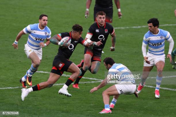 Anthony Watson of England breaks with the ball during the Old Mutual Wealth Series international match between England and Argentina at Twickenham...