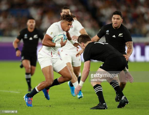 Anthony Watson of England charges upfield during the Rugby World Cup 2019 Semi-Final match between England and New Zealand at International Stadium...