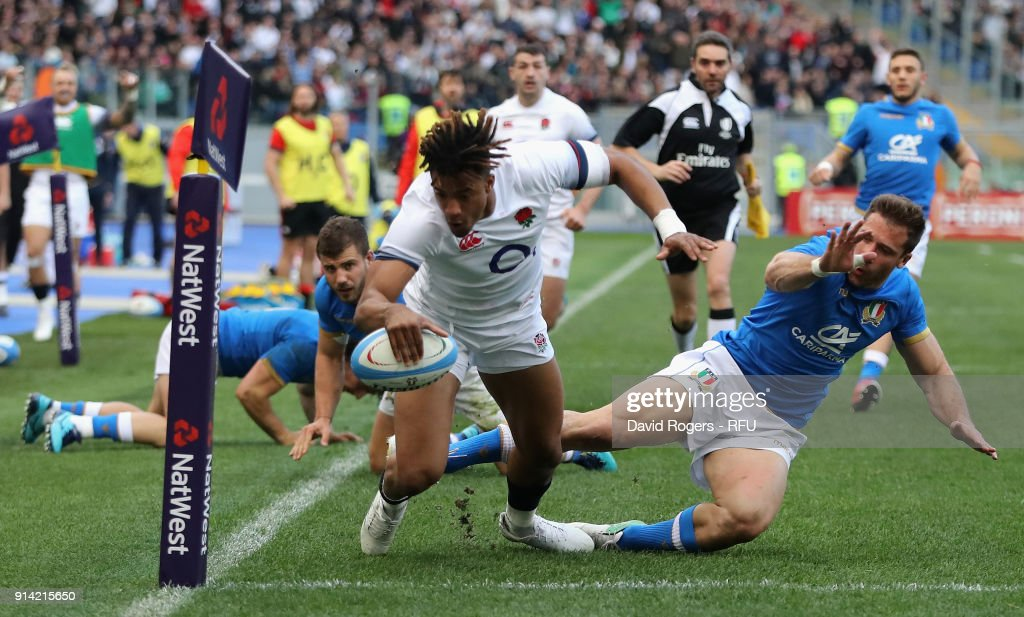 Anthony Watson of England dives over for his second try during the NatWest Six Nations match between Italy and England at Stadio Olimpico on February 4, 2018 in Rome, Italy.
