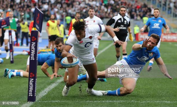 Anthony Watson of England dives over for his second try during the NatWest Six Nations match between Italy and England at Stadio Olimpico on February...