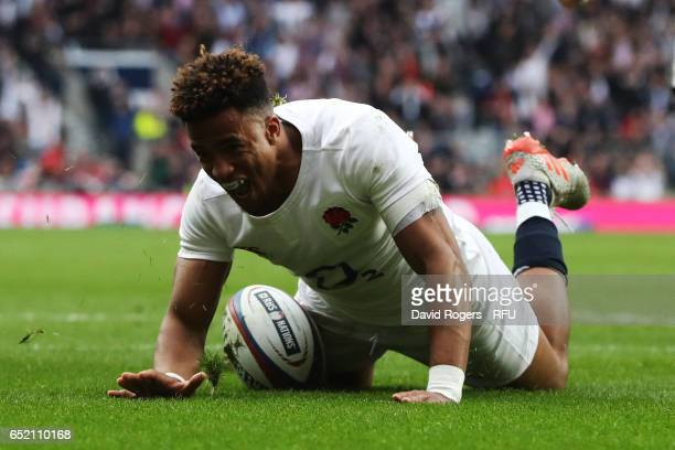 Anthony Watson of England dives over to score his team's third try during the RBS Six Nations match between England and Scotland at Twickenham...