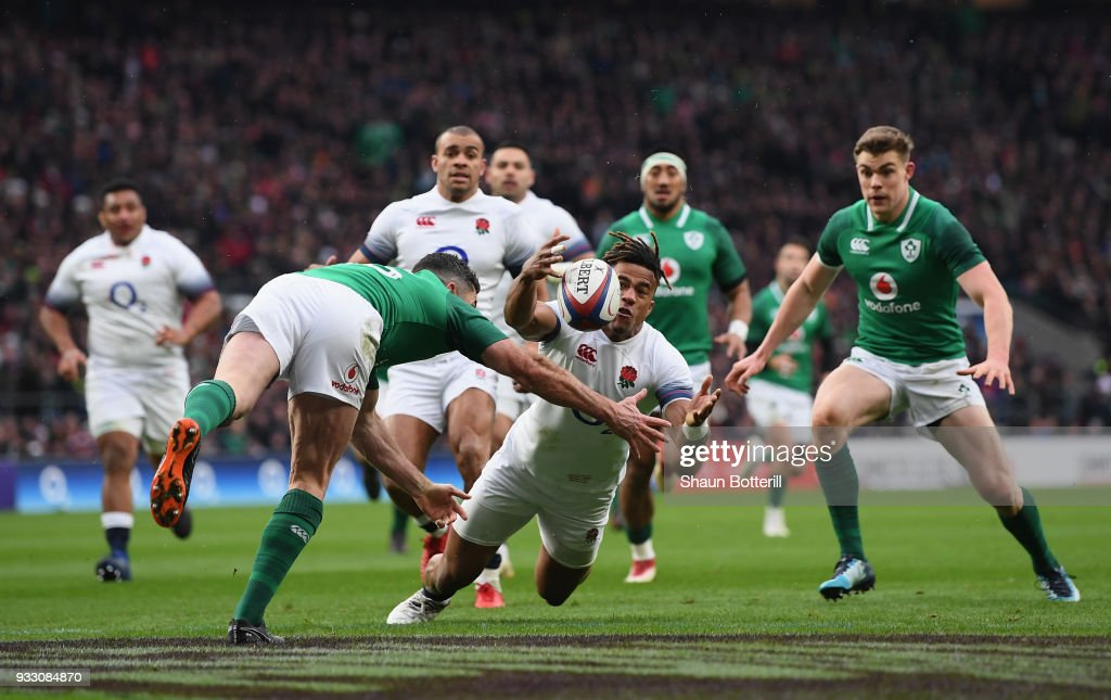 Anthony Watson of England fumbles the ball while later leads to Ireland scoring a try during NatWest Six Nations match between England and Ireland at Twickenham Stadium on March 17, 2018 in London, England.