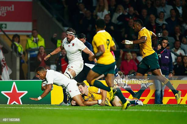 Anthony Watson of England goes over to score their first try during the 2015 Rugby World Cup Pool A match between England and Australia at Twickenham...