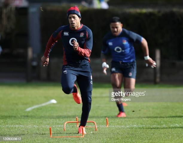 Anthony Watson of England trains at St Edward's School on February 27, 2020 in Oxford, England.
