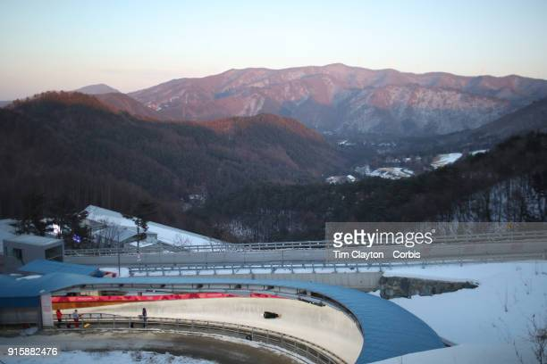 Anthony Watson of Jamaica in action during the Men's Skeleton training run ahead of the PyeongChang 2018 Winter Olympic Games at Olympic Sliding...