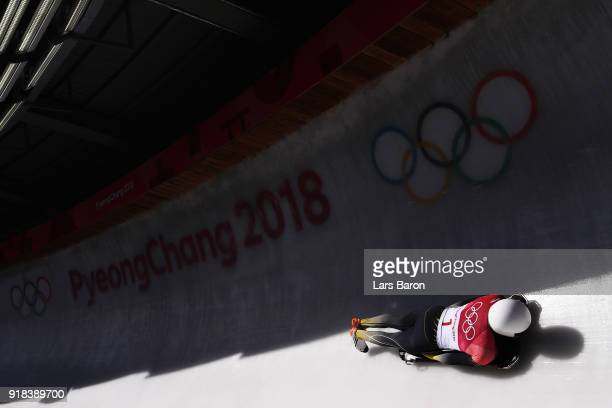Anthony Watson of Jamaica slides during the Men's Skeleton heats on day six of the PyeongChang 2018 Winter Olympic Games at the Olympic Sliding...