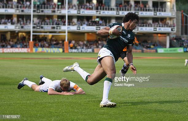 Anthony Watson of London Irish races clear to score a try in the match against Bath during the J.P. Morgan Premiership Rugby Sevens Series at...