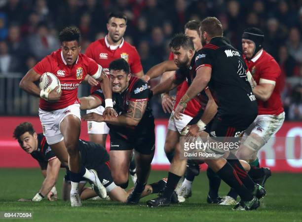 Anthony Watson of the Lions breaks with the ball during the match between the Crusaders and the British Irish Lions at AMI Stadium on June 10 2017 in...