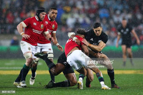 Anthony Watson of the Lions collides with Sonny Bill Williams of New Zealand during the International Test match between the New Zealand All Blacks...