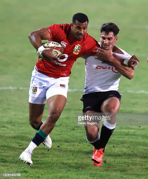Anthony Watson of the Lions is held by Lionel Cronje during the match between the Cell C Sharks and the British & Irish Lions at Loftus Versfeld...