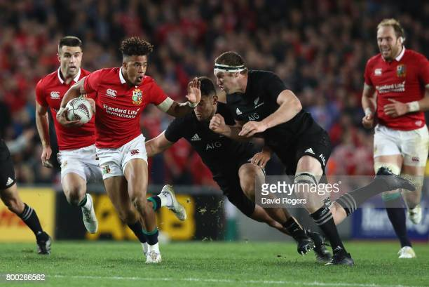 Anthony Watson of the Lions makes a break during the first test match between the New Zealand All Blacks and the British Irish Lions at Eden Park on...
