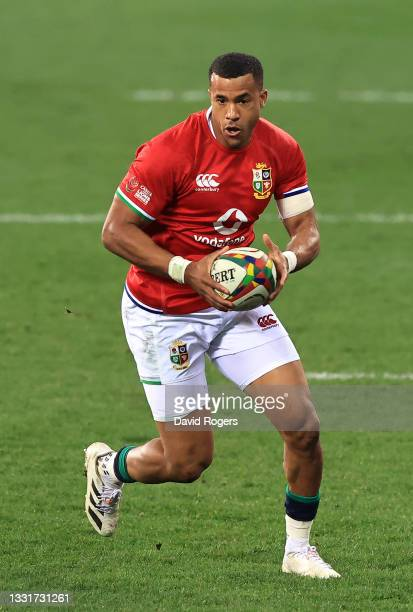 Anthony Watson of the Lions runs with the ball during the 2nd test match between es upfield South Africa Springboks and the British & Irish Lions at...