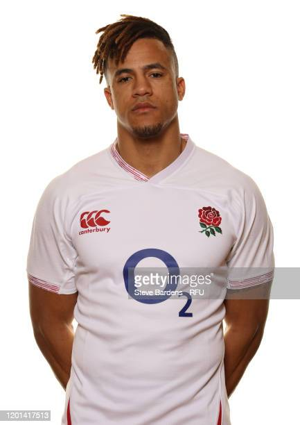 Anthony Watson poses for a portrait during the England Squad Photo call at Pennyhill Park on January 23, 2020 in Bagshot, England.