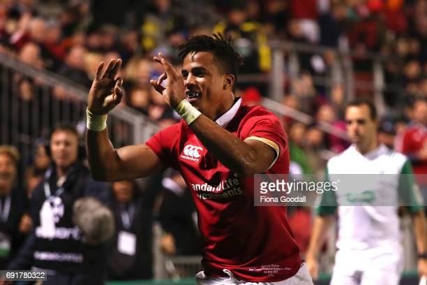 Anthony Watson sores a try for the Lions during the match between the New Zealand Provincial Barbarians and British Irish Lions at Toll Stadium on...