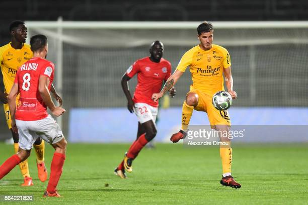 Anthony Weber of Brest during the Ligue 2 match between Nimes Olympique and Stade Brestois at on October 20 2017 in Nimes France