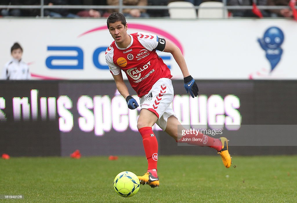 Anthony Weber of Reims in action during the french Ligue 1 match between Stade de Reims and AS Saint-Etienne at the Stade Auguste Delaune on February 17, 2013 in Reims, France.