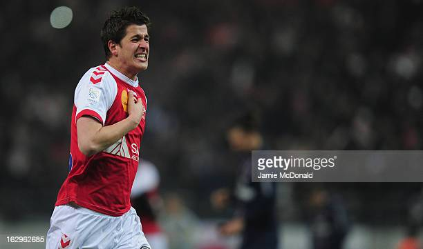 Anthony Weber of Stade de Reims Champagne celebrates victory during the Ligue 1 match between Stade de Reims Champagne v Paris Saint-Germain FC at...