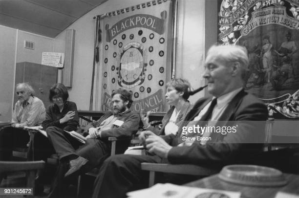 Anthony Wedgwood Benn and Jeremy Corbyn at the Labour Party Conference in Blackpool, UK, 1992.