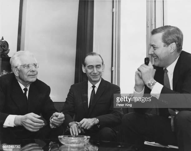 Anthony Wedgwood Benn the British Minister of Technology meets Semyon Kozyrev the Soviet Deputy Foreign Minister and Mikhail N Smirnovsky the Soviet...