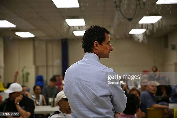 Anthony Weiner a candidate for New York City mayor visits a senior center in Manhattan on August 13 2013 in New York City It was revealed last month...