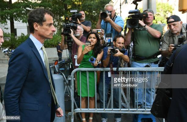 Anthony Weiner a former Democratic congressman leaves Federal Court in New York September 25 2017 after being sentenced for 21months for sexting with...