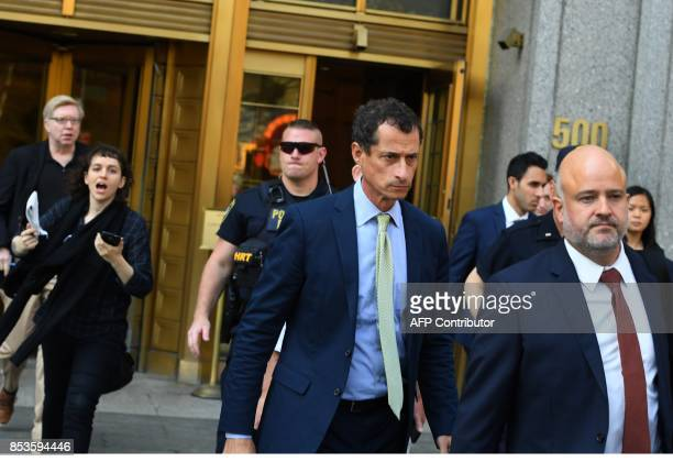 Anthony Weiner a former Democratic congressman who pleaded guilty to one count of sexting a teenage girl leaves Federal Court after being sentenced...