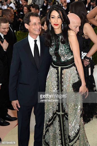 Anthony Weiner and Huma Abedin attend the Manus x Machina Fashion In An Age Of Technology Costume Institute Gala at Metropolitan Museum of Art on May...