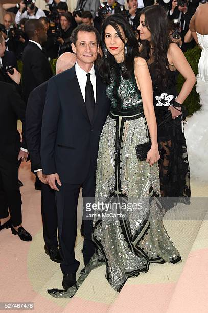 Anthony Weiner and Huma Abedin attend the 'Manus x Machina Fashion In An Age Of Technology' Costume Institute Gala at Metropolitan Museum of Art on...
