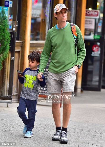 Anthony Weiner and son Jordan Zain Weiner are seen in Chelsea on June 5 2017 in New York City