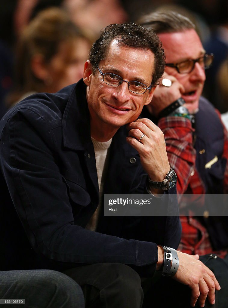 Anthony Weiner attends the game between the Brooklyn Nets and the Toronto Raptors on November 3, 2012 in the Brooklyn borough of New York City. The Brooklyn Nets defeated the Toronto Raptors 107-100.