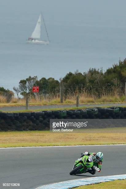 Anthony West of Australia competes in the SuperSport FIM World Championship Free Practice session ahead of the 2018 Superbikes at Phillip Island...
