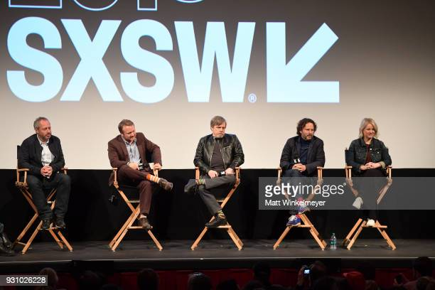 Anthony Wonke Rian Johnson Mark Hamill Ram Bergman and Tylie Cox attend the 'The Director and The Jedi' Premiere 2018 SXSW Conference and Festivals...