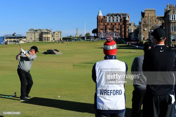 Anthony Wreford of England plays his tee shot on the 18th hole during the third round of the 2018 Alfred Dunhill Links Championship on The Old Course...
