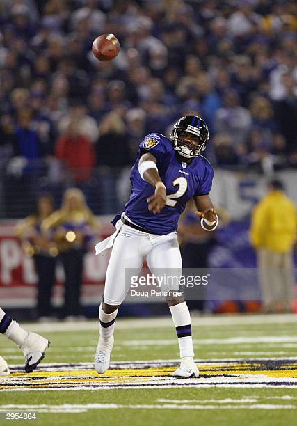 Anthony Wright of the Baltimore Ravens throws the ball during the game against the Tennessee Titans in the NFL AFC Wild Card game on January 3 2004...